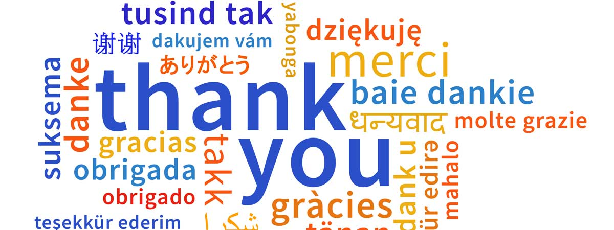 Thank You Shown in Many Different World Languages