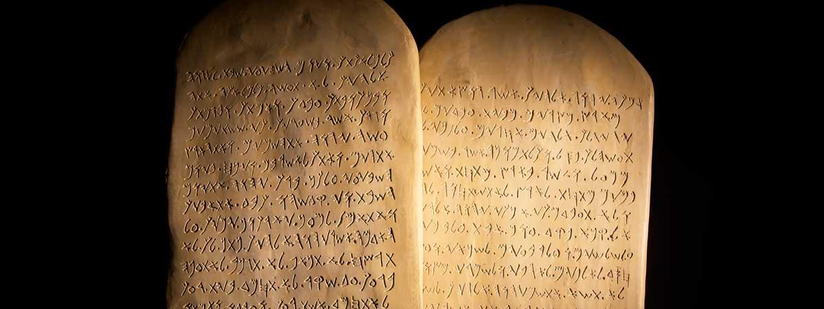 Ten Commandments Written on Stone Tablets