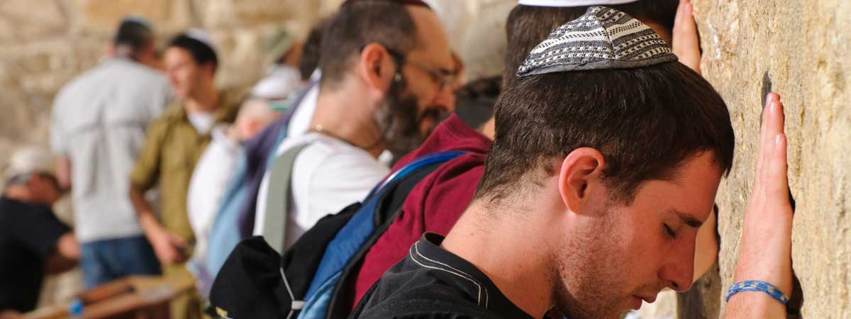 Men Praying at the Wailing Wall, Rebuilding God's City Jerusalem