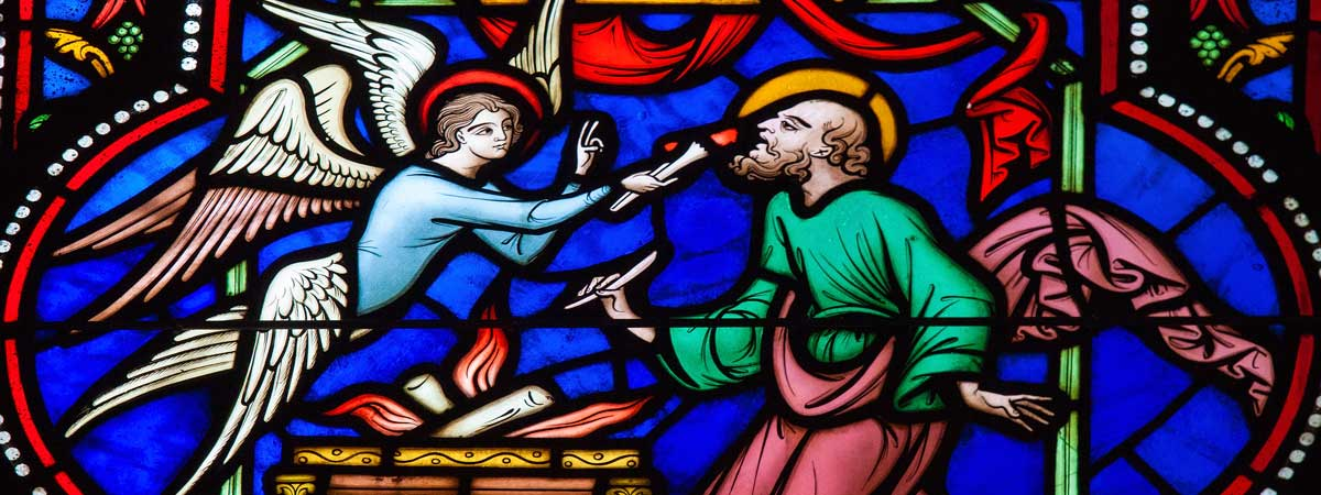 Stained Glass of an Angel Giving God's Word to His Prophet